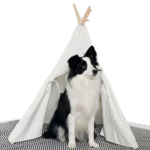 HAN-MM Pet Teepee Dog Toy Tent Classical Pure White Canvas Style