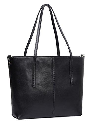 Obosoyo Women's Handbag Genuine Leather Tote Shoulder Bags Soft Hot Black-Small