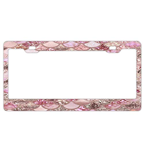 Type Blush Rose (Customized Frames Girly License Plate Frame for Women/Girls, Aluminum Metal Car Licenses Plate Cover for Both Front and Back License Tag - Rose Gold Blush Glitter Ombre Mermaid Scales)