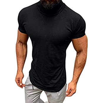YKARITIANNA Mens 2019 New T Shirt, Autumn and Winter Solid Color Turtleneck Long Sleeve Top Elastic Slim Pullover Bronze