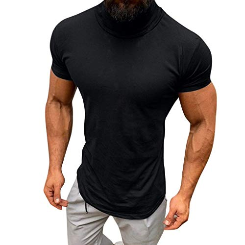 LISTHA Slim Turtleneck Tops Men Casual Summer Short Sleeve Blouse Shirts Tee Black