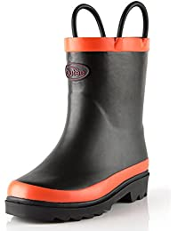 Toddler Little Kids Girls Rubber Rain Boots Waterproof Shoes Pink with Easy-On Handles(Pink/Blue/Black/Yellow/Purple)