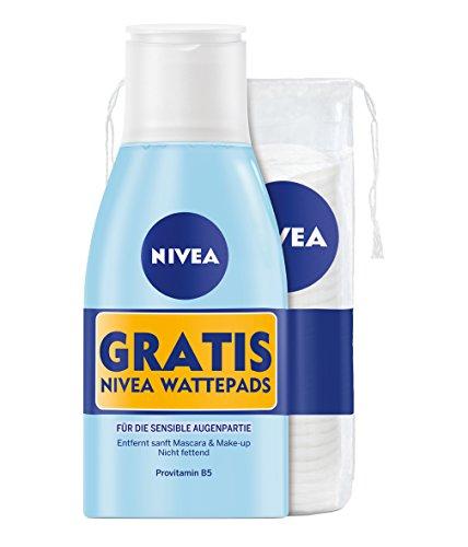 Nivea Augen Makeup Entferner, plus gratis Wattepads, 3er Pack (3 x 125 ml)