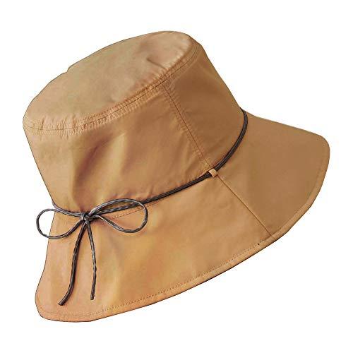 コモライフ Packable Reversible Sun Protection Hat for Women with a Pouch - Waterproof Rain Hat with UV Protection, Black & Light Brown, Head : 22 ()