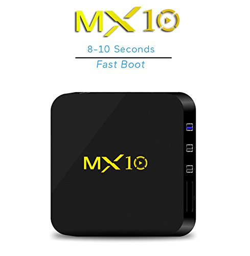 Android tv Box 8.1, MX10 Android TV Box with Quad Core 4GB DDR4 /32GB eMMC Storage True 4K HDR @60fps UHD Video Playback USB 3.0 and Fast Ethernet Port/WiFi [M8S MXQ Upgraded/ 8 Seconds Fast Boot]