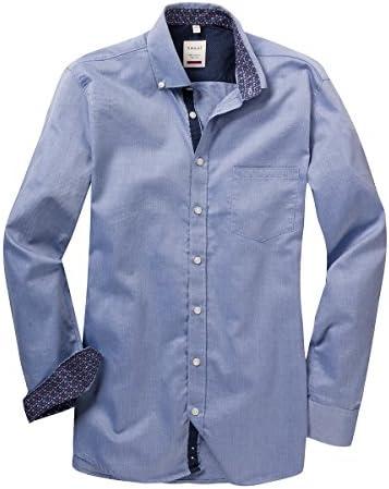 Haupt XXL Camisa Manga Larga Azul con patrón mínimo, 2xl-8xl ...