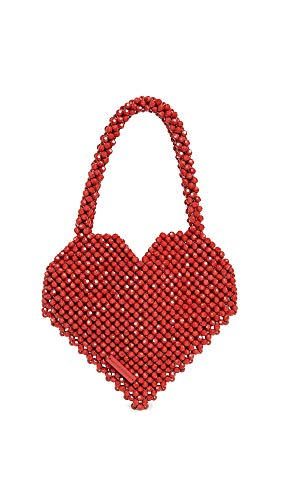 Loeffler Randall Women's Maria Beaded Heart Tote, Red, One Size