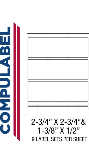 3.5 Diskette Labels - Compulabel 311400 White 3 1/2 Floppy Labels for Laser and Inkjet Printers, 2 3/4 x 2 3/4 Inch and 1 3/8 x 1/2 Inch, Permanent Adhesive, 9 Sets/Sheet, 100 Sheets per Carton
