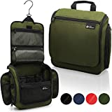 Hanging Toiletry Bag for Men and Women - Designer Travel Organizer for Makeup and Toiletries - Hang Case for Cosmetics and Toilet Accessories with Metal Swivel Hook