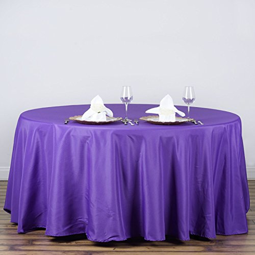 LinenTablecloth 120-Inch Round Polyester Tablecloth Purple