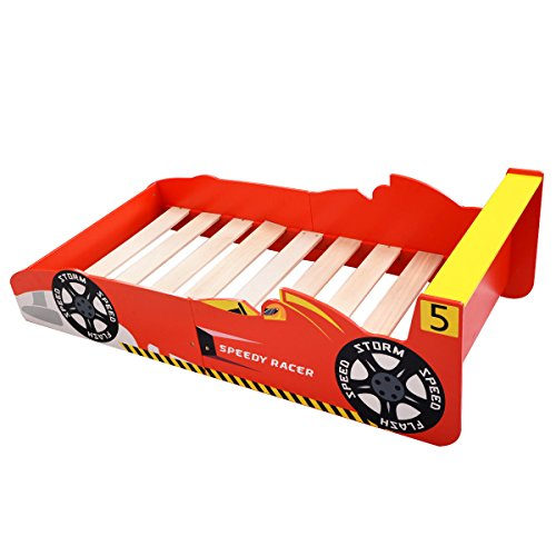 Red Solid Wood Boy Kids Race Car Toddler Bed for Child Bedroom Capacity 110 Lbs by FDInspiration