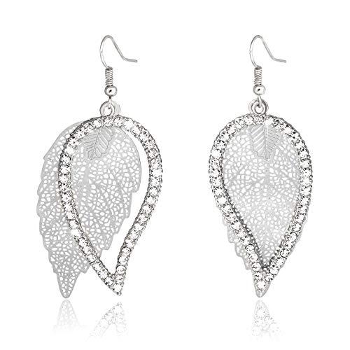 Liao Jewelry Filigree Layered Leaf Dangle Earrings Pave Crystal Cutout Leave Drop Earrings Rhinestone Teardrop Earrings for Women ()
