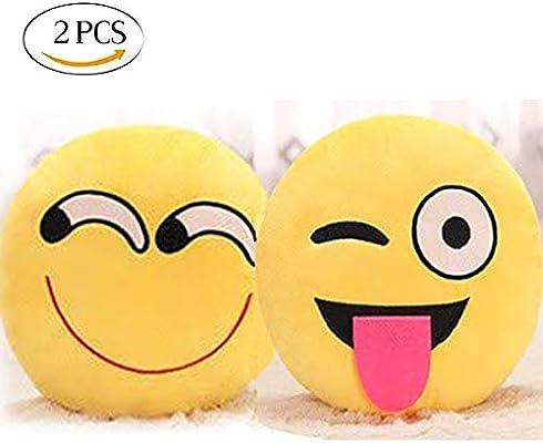 Mengger Emoji Pillow Cojín Redonda Suave Emoticono Almohada ...