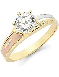 Ladies 14K 3 Tri Color White Yellow and Rose/Pink Gold Diamond Cut CZ Cubic Zirconia Engagement Ring (Multiple Sizes Available)