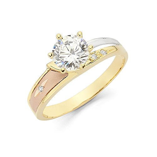 - Wellingsale Ladies 14K 3 Tri Color White Yellow and Rose/Pink Gold Diamond Cut CZ Cubic Zirconia Engagement Ring - Size 7