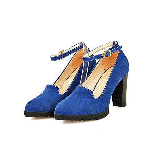 Amoonyfashion Femmes Imité Daim Talons Hauts Point Fermé Fermé Orteil Boucle Solide Pompes-chaussures Bleu