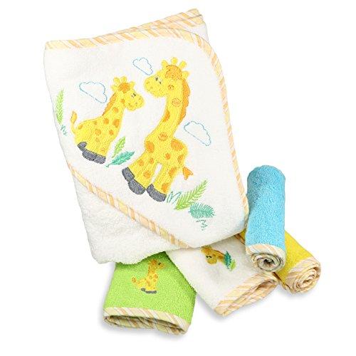 Spasilk 100% Cotton Hooded Terry Bath Towel with 4 Washcloths, Yellow Giraffe