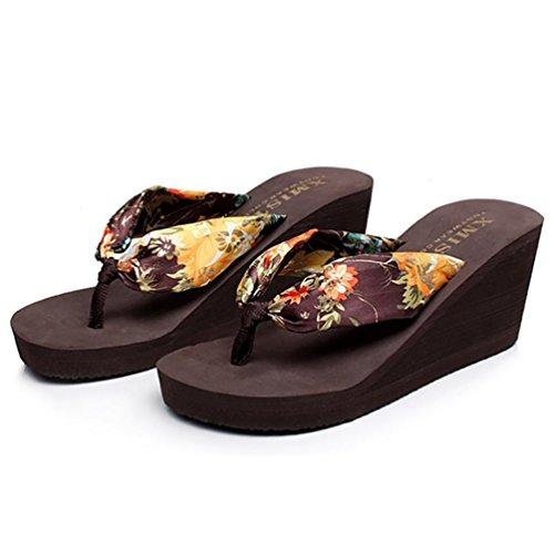 SHANGXIAN antideslizante playa panecillo inferior de las mujeres flip-flops sandalia de la cuña f