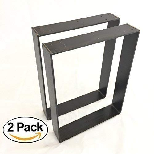 """2 Pack - (3"""" Wide - 1/4"""" Thick Metal) (Size Range: 8-25""""L x 8-25""""H) Square Rustic Reclaimed Coffee Dining Table bench Legs Steel Rectangle Brackets"""
