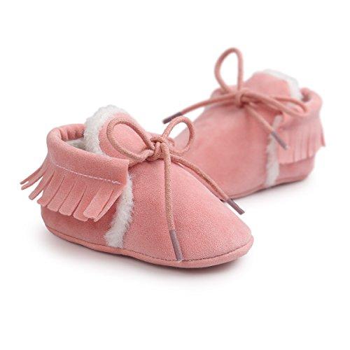 Auxma Moda Bebé niña cuna borlas vendaje suave único Casual zapatos niño Zapatillas Rosa(invierno)
