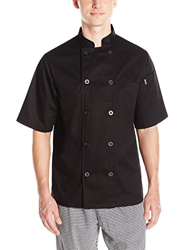 Chef Code Men's Short Sleeve Unisex Classic Chef Coat, Black, Large