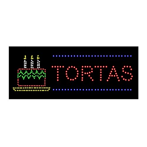 LED Tacos Burritos Tortas Open Light Sign Super Bright Electric Advertising Display Board for Mexican Food Street Eats Restaurant Business Shop Store Window Bedroom Decor 32 x 13 inches ()