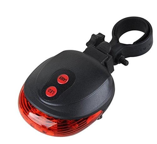 Bike Rear Tail Light, Bright 2 Laser 5 LEDs 7 Modes Cycling Bicycle Torch- Road, Racing & Mountain- Fits ALL Bicycles, (Led Light Laser)