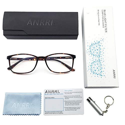 ANRRI Blue Light Blocking Glasses for Computer Use, Anti Eyestrain Headache UV Filter Gaming Eyeglasses Lightweight Frame, Tortoise, Man/Women by ANRRI (Image #5)