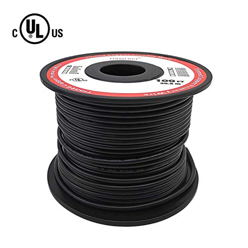 (FIRMERST UL Listed Tinned Copper 14 Gauge Automotive Primary Wire Spool 100 Ft Black)