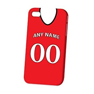 Case Fun Apple iPhone 4 / 4S Case - Vogue Version - 3D Full Wrap - Personalised Manchester United Football Shirt, Any Name, Any Number