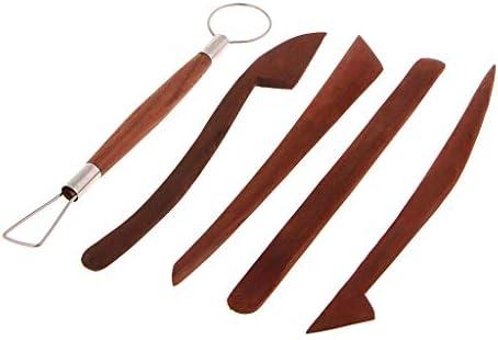 木製 クレイ クラフト 陶芸 彫刻 粘土 細工棒 ヘラ ツール 5本セット
