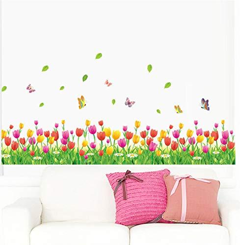 Maravilloso jardín flor de tulipán mariposa 3D pegatinas de pared ...