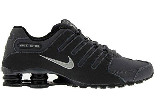 Nike Mens Shox NZ Dark Grey/Anthracite/Black/Metallic Iron Leather Running Shoes 8 M US