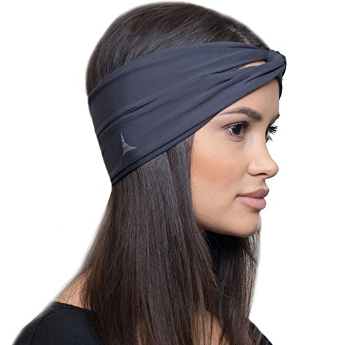 Moisture Wicking Turban Headband for Sports, Running, Workout and Yoga, Insulates and Absorbs Sweat, Women Hair Band by French Fitness - Wicking Headband Moisture