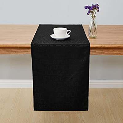 Deconovo Jacquard Damask Table Runner Bar Graph Print Wrinkle and Water Resistant Spill-Proof Decorative Dining and Wedding Runners 14 x 72 inch Black - Crafted of 100 percent imported high quality soft and smooth Jacquard Damask polyester fabric These table runners are available in 2 sizes of rectangular shapes (14 x 72 inches and 14 x 108 inches). Matching napkins and tablecloths are available This exclusive collection is designed with a wrinkle resistant, liquids and spill resistant fabric which creates convenience, makes cleaning easy and help protect your tables and furniture - table-runners, kitchen-dining-room-table-linens, kitchen-dining-room - 41FO5zg6eRL. SS400  -