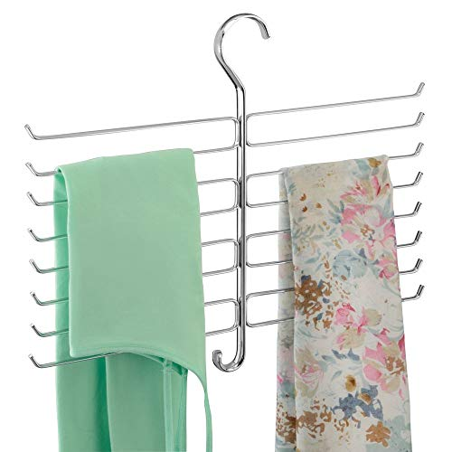 mDesign Metal Closet Rod Hanging Accessory Storage Organizer Rack for Scarves, Ties, Yoga Pants, Leggings, Tank Tops - Snag Free, Geometric Design, 16 Arms/1 Hook - Chrome