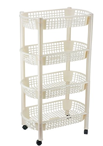 - DecorRack Kitchen Storage Rack, 4-Tier Wheeled Plastic Wicker Mesh Basket Shelving Trolley, Rolling Kitchen Storage Cart with Shelves on Wheels for Vegetable and Fruit Storage, Cream Color