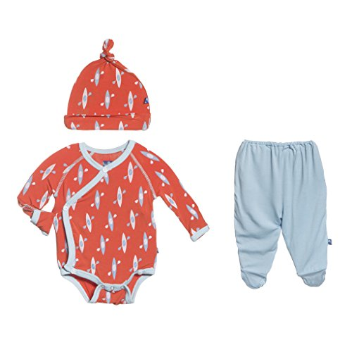 KicKee Pants Kimono Gift Set Outfit, Little Boys-Frisbee Kayak, 0-3 Months
