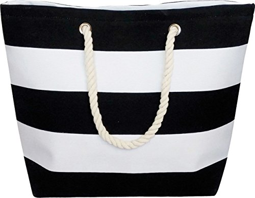 Large Water Resistant Canvas Striped Beach Bag - Inside Lining, Zippered Inner Pocket, Top Handle (Black/White Striped) Black & White Bag