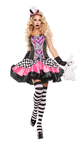 Mad Hatters Fancy Dress Costume (Starline Women's Fancy Hatter Sexy 2 Piece Costume Set, Pink/Black, Large)