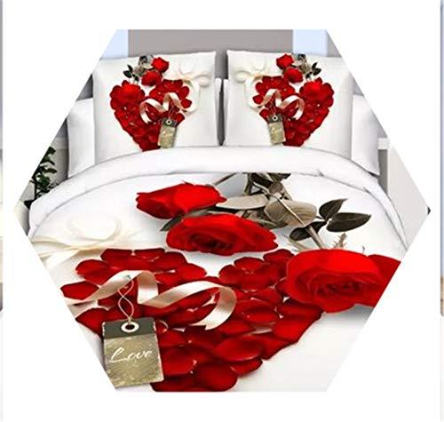 4Pcs King Size 3D Rose Bedding Sets Bedclothes Cover Set Bed Sheet Pillowcase Wedding 18 ()