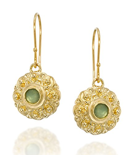 Flower Dangle Earrings with Created Light Green Quartz in 14k Gold Plated Sterling Silver Women's Jewelry ()