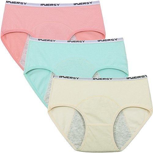 "Innersy Women's Big Girls' 3 Pack Postpartum Menstrual Period Protective Cotton Panties Underwear Hipsters (Large(Waist:23""-24"", Hip:32""-33.5""), Brights)"