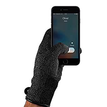 Mujjo Double Layered Touchscreen Winter Gloves | Knitted Smartphone Texting Gloves with Leather Cuffs, Magnetic Snap Closure & Anti-Slip Grip (Small)