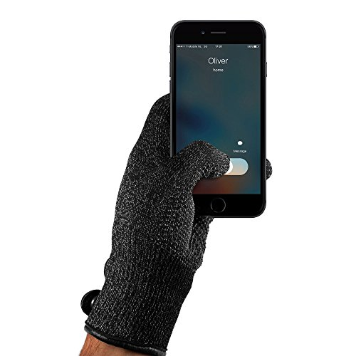 Mujjo Single Layered Touchscreen Winter Gloves| Knitted Smartphone Texting Gloves with Leather Cuffs, Magnetic Snap Closure & Anti-Slip Grip (Large)