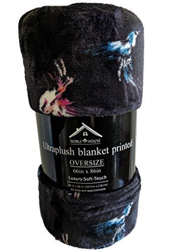 - Noble Throw Comfy Microplush Oversized Blanket Navy Blue Hummingbirds 66x86