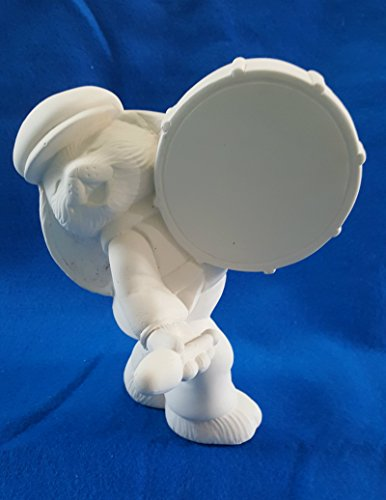 - Bunny Rabbits Figurine playing a Drum unpainted ceramic bisque ready to be painted