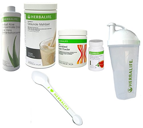 (HERBALIFE QUICK COMBO FORMULA1 SHAKE MIX COOKIES, PROTEIN POWDER, ALOE ORIGINAL OR MANGO, TEA HERBAL GREAT 3,6 Oz SHAKER CUP, SPOON.)