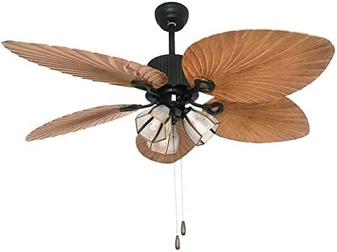 Palm Island Bali Ceiling Fan with Retro Rope Switch, Imitation Artisan Hand- Carved Wooden Blades, Tropical Style, 52 , Bronze With 3 Lights