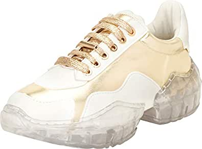 Cambridge Select Women's Retro Lace-Up 90s Ugly Dad Chunky Clear See-Through Platform Sole Fashion Sneaker Gold Size: 6